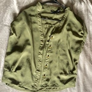 Olive green sheer top